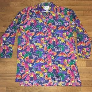 Rare Lilly Pulitzer sz 10 butterfly silk blouse